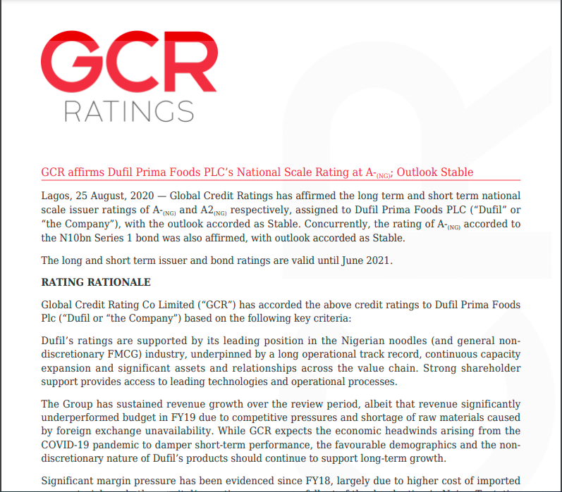 GCR affirms Dufil Prima Food PLC's national scale rating at A- Outlook Stable