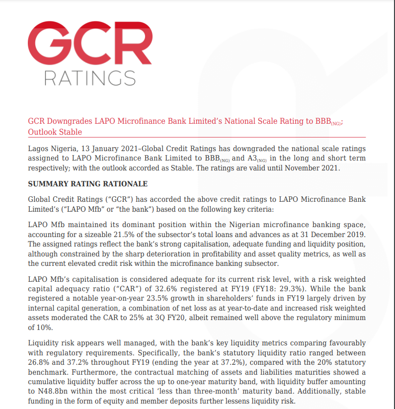 GCR Downgrades LAPO Microfinance Bank Limited's National Scale Rating to BBB(NG); Outlook Stable