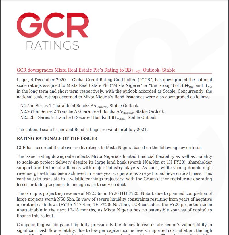 GCR downgrades Mixta Real Estate Plc's Rating to BB+(NG); Outlook: Stable