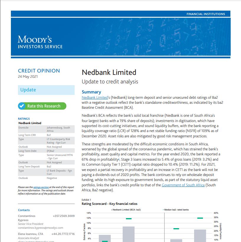 Moody's credit update on Nedbank