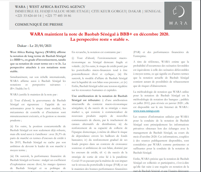 WARA classifies Baobab Senegal's rating as BBB+