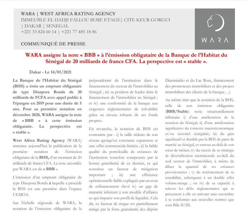 Wara assigns Senegal Habitat Bank with regional scale BBB rating