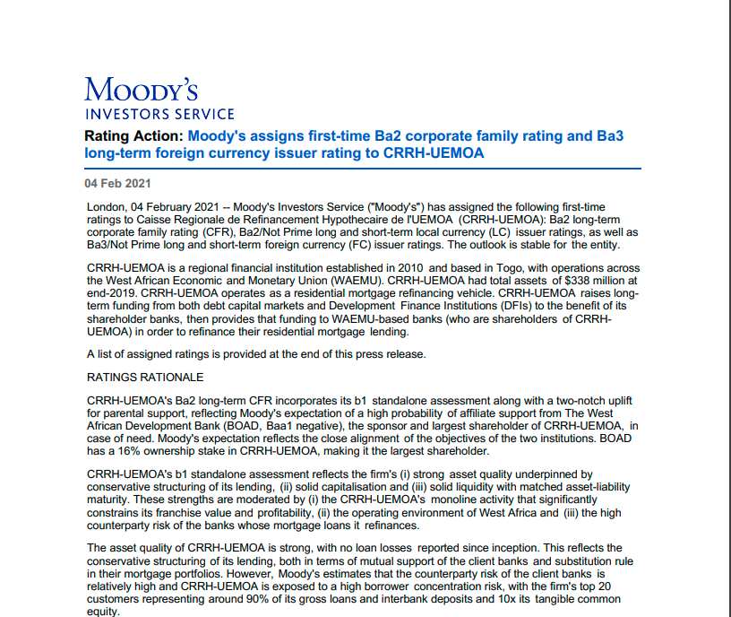 Moody's assigns first-time Ba2 corporate family rating and Ba3 long-term foreign currency issuer rating to CRRH-UEMOA