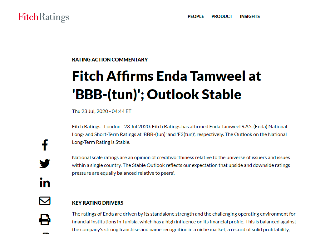 Fitch Affirms Enda Tamweel at 'BBB-(tun)'; Outlook Stable