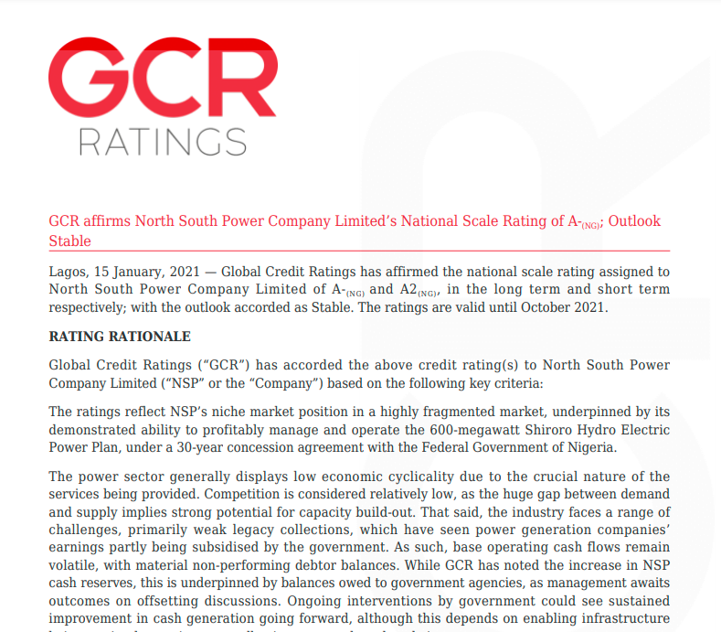 GCR affirms North South Power Company Limited's National Scale Rating of A-(NG); Outlook Stable