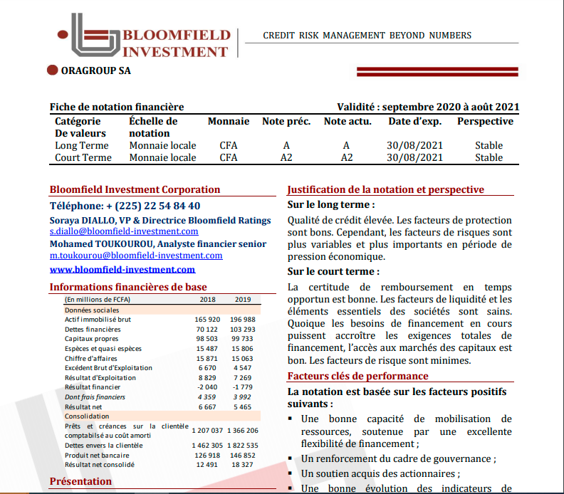 Bloomfield Investment assigns a long-term A rating (investment rating) with a stable outlook to Oragroup