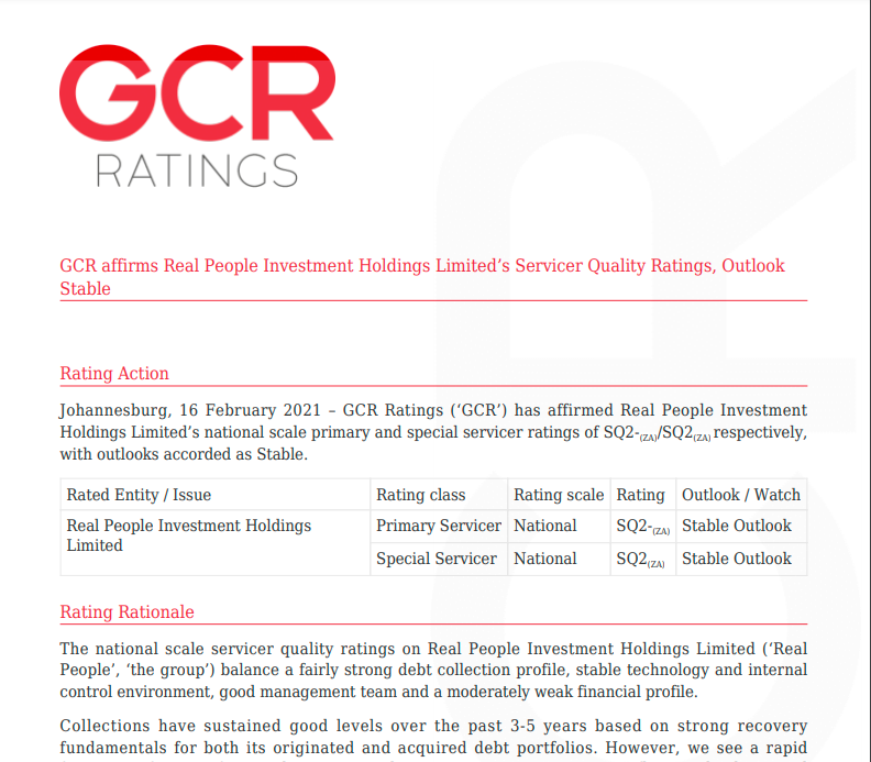 GCR affirms Real People Investment Holdings Limited's Servicer Quality Ratings, Outlook Stable