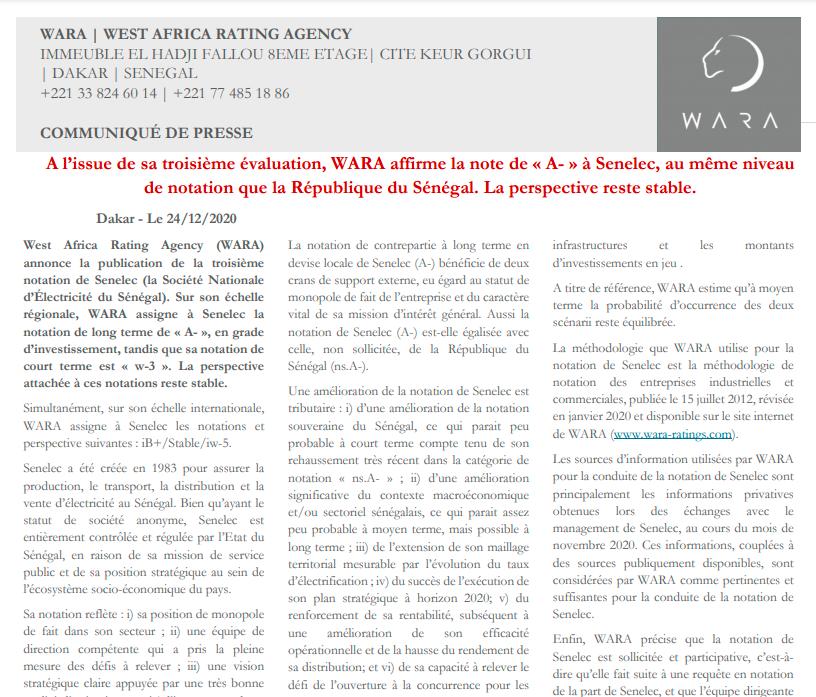 WARA assigns Senelec A- regional scale rating