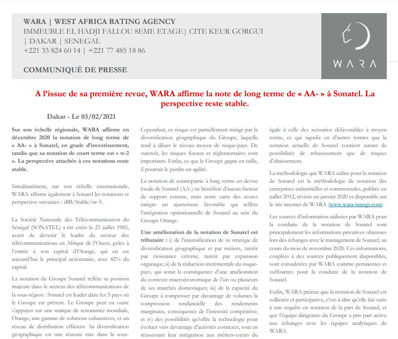 """WARA affirms the long term rating of """"AA-"""" to Sonatel."""