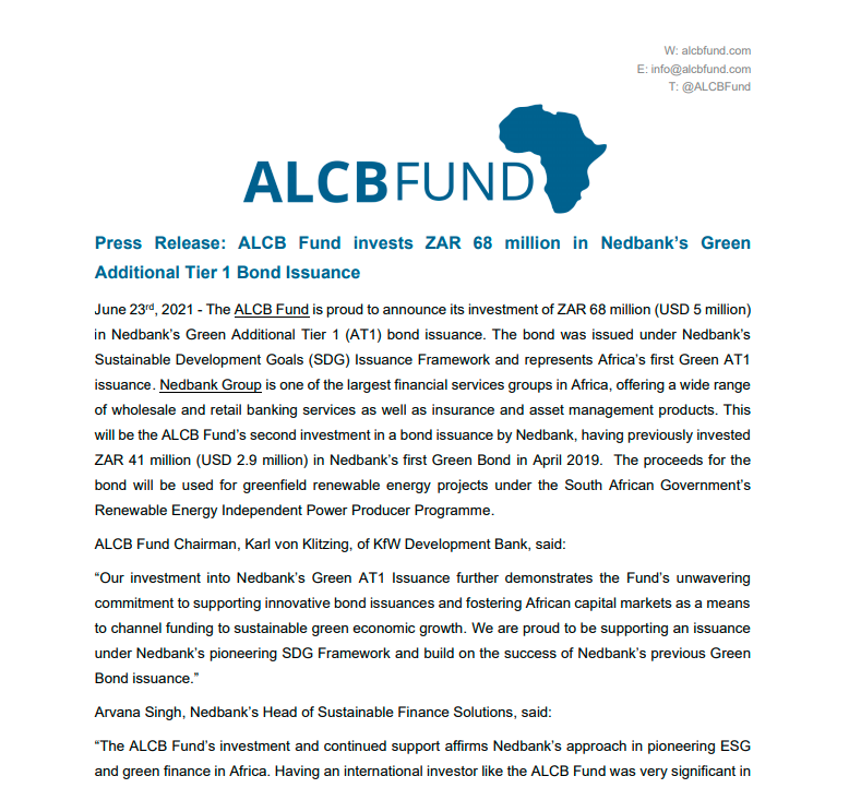 ALCBF Ned Bank Press Release