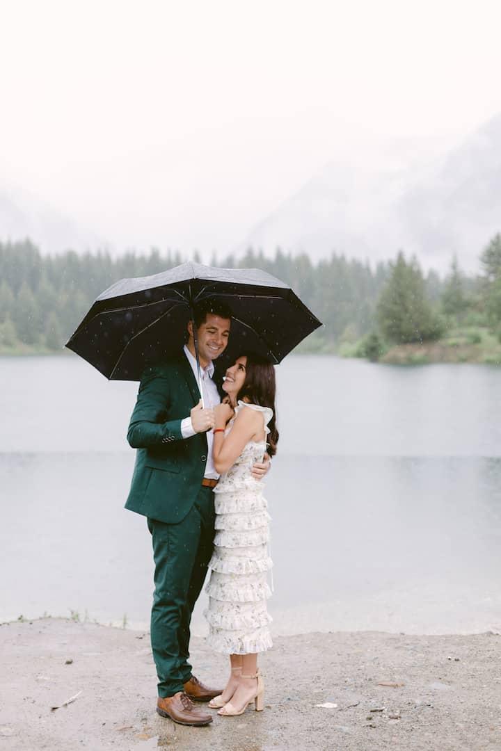 Washington elopement rain