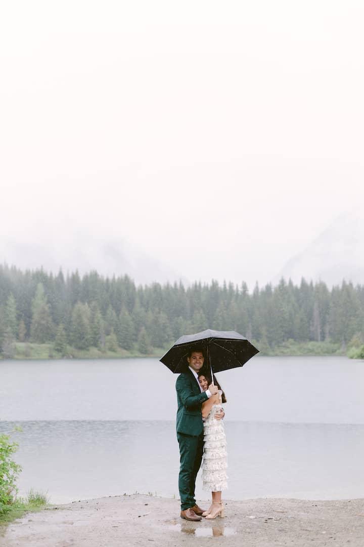 rainy elopement