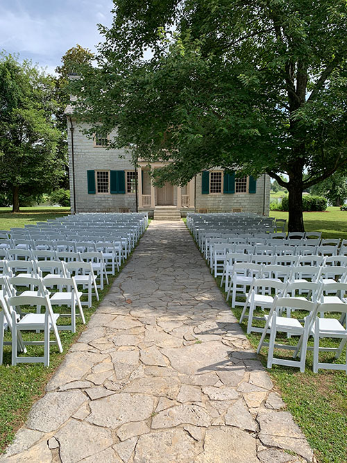 Historic Rock Castle home with chairs