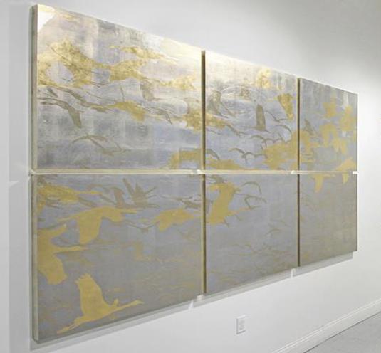 acrylic, silver, & gold leaf on panel
