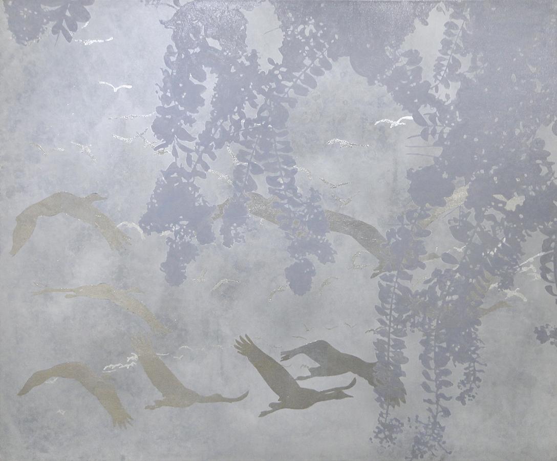 acrylic, pewter, & silver leaf on canvas