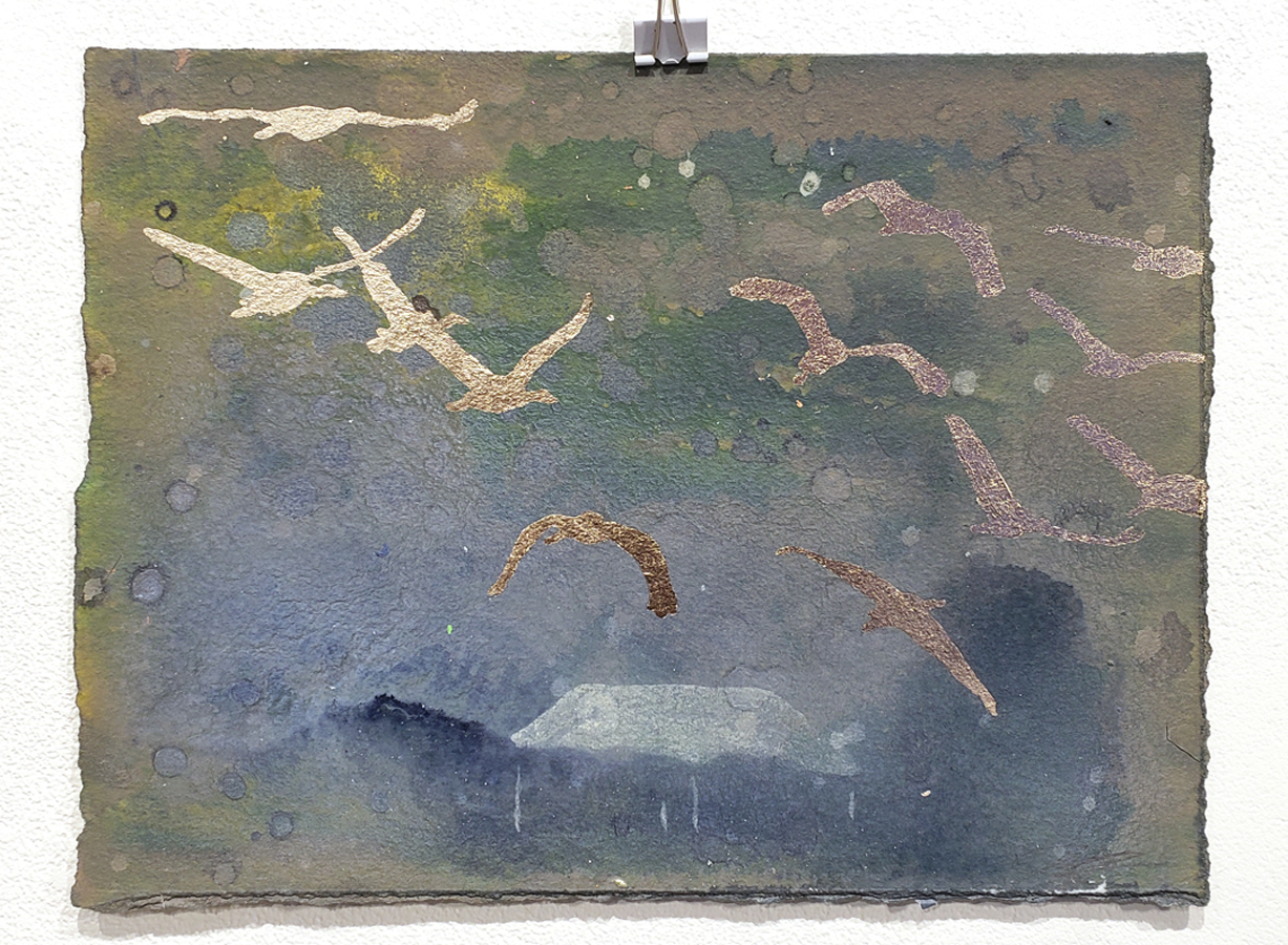 acrylic and gold leaf on paper; comes framed