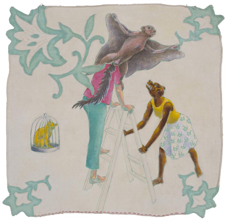 acrylic and stitching on repurposed vintage fabrics