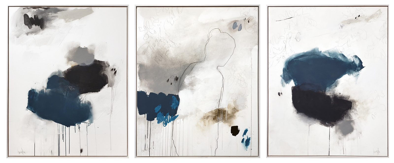 mixed media on paper in custom floater frame; triptych