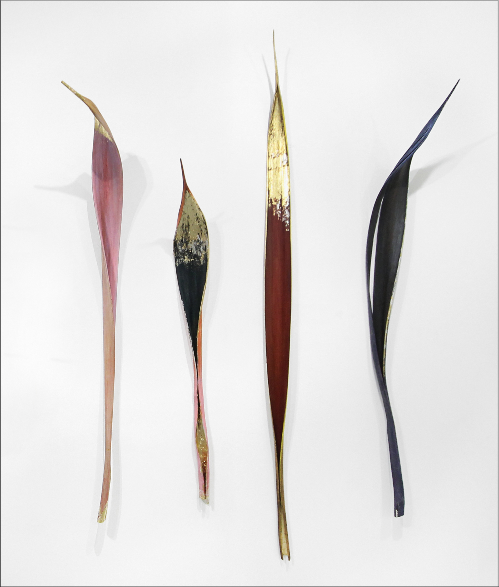 palm bracts, polymer paint, gold leaf