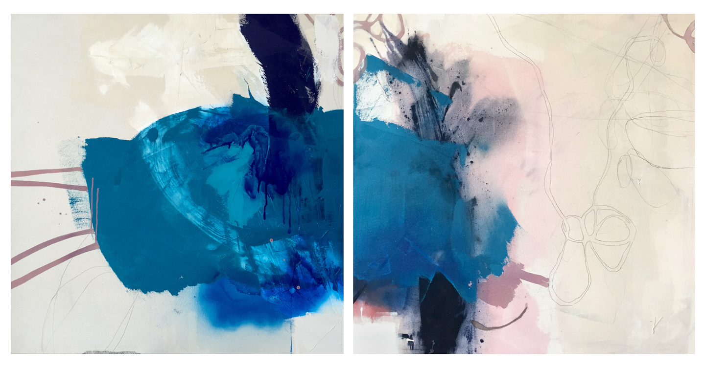 mixed media on canvas; diptych