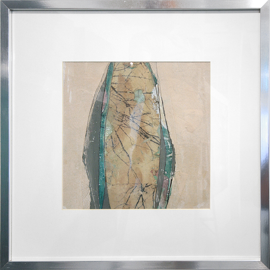 mixed media on paper; framed as shown