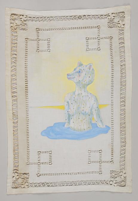 acrylic on repurposed linen