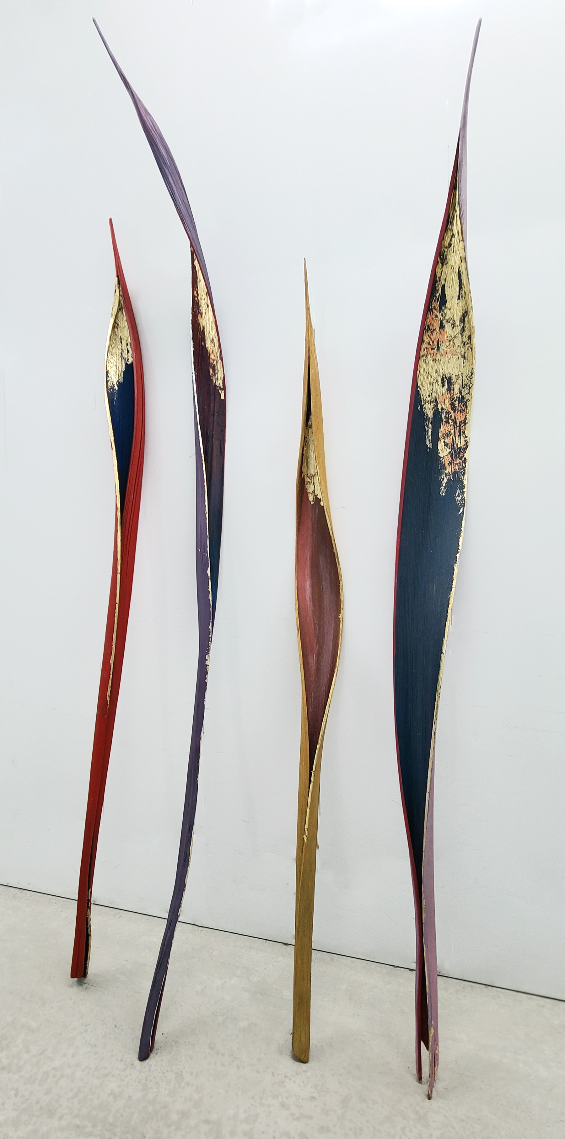 organic material (palm bract), polymer paint, gold leaf