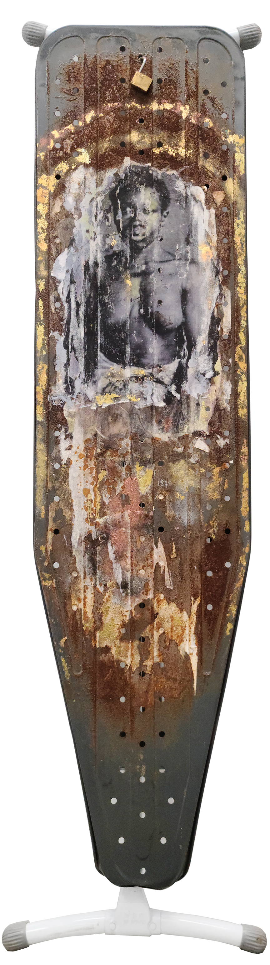 transfer print & gold leaf on ironing board, embossing, found objects