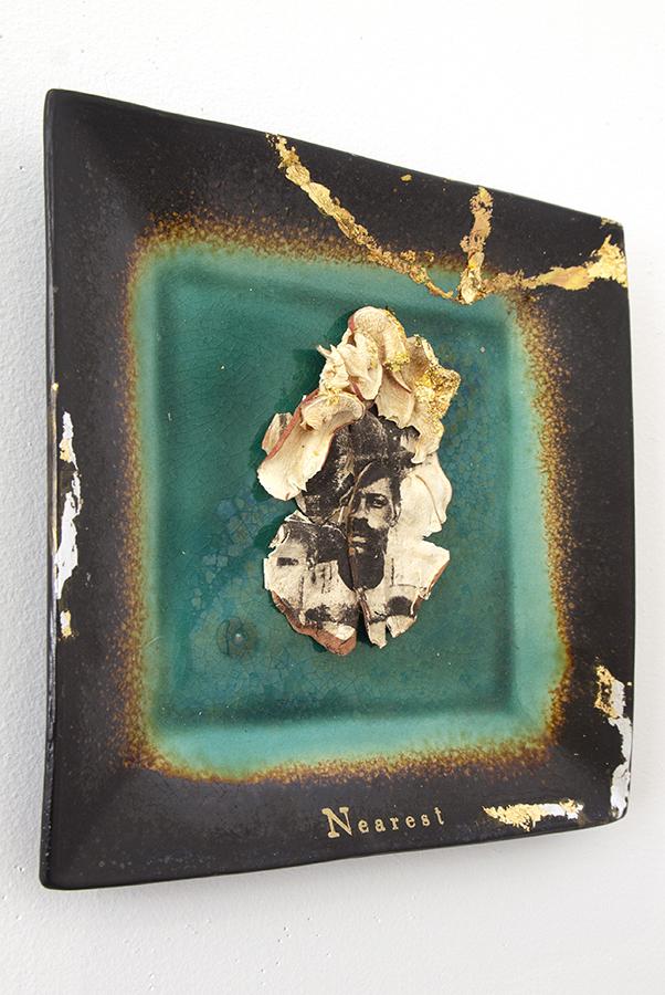 intaglio on handmade sweet potato paper, gold leaf, plate; assemblage