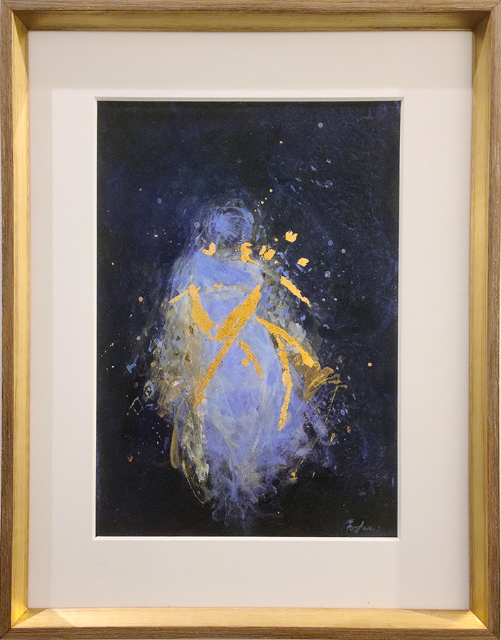mixed media & gold leaf on archival pigment print