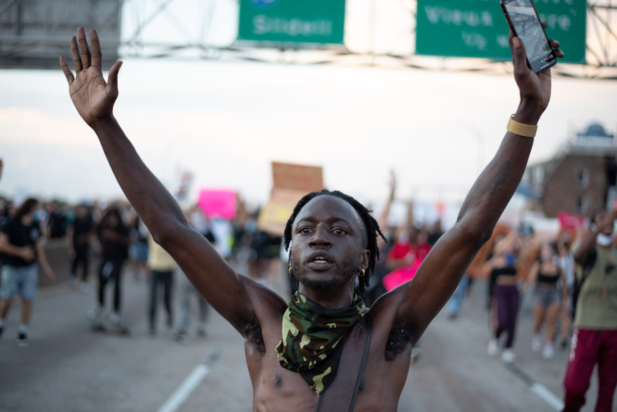 Protestors occupy Interstate 10 in New Orleans June 2, 2020