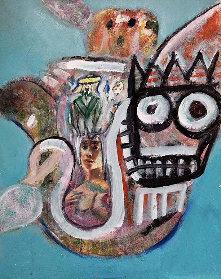 Acrylic, and markers on canvas. Signed, dated and titled on the reverse.