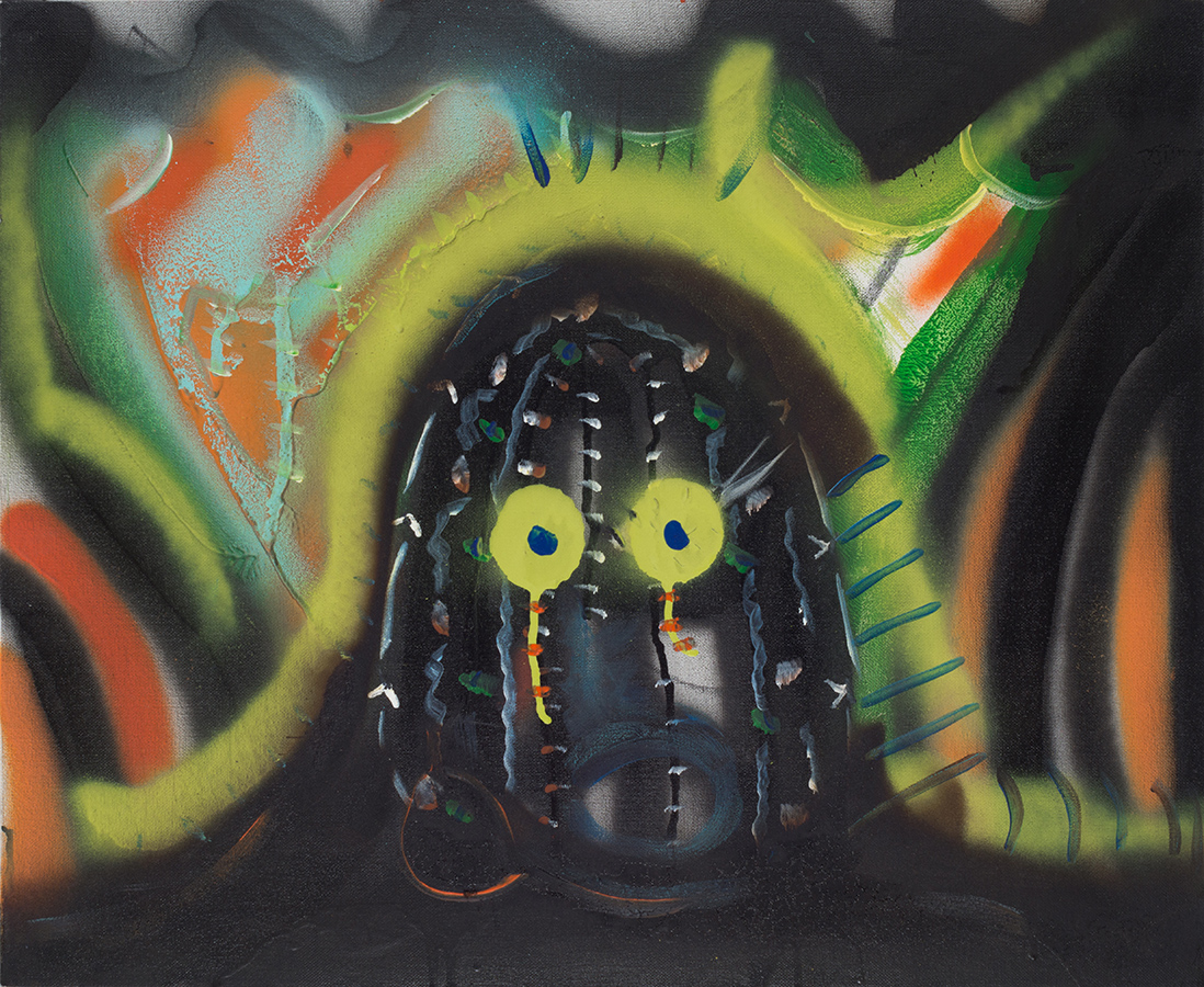 Acrylic, spray paint, vine charcoal and pastel on canvas. Signed, dated and titled on the reverse.