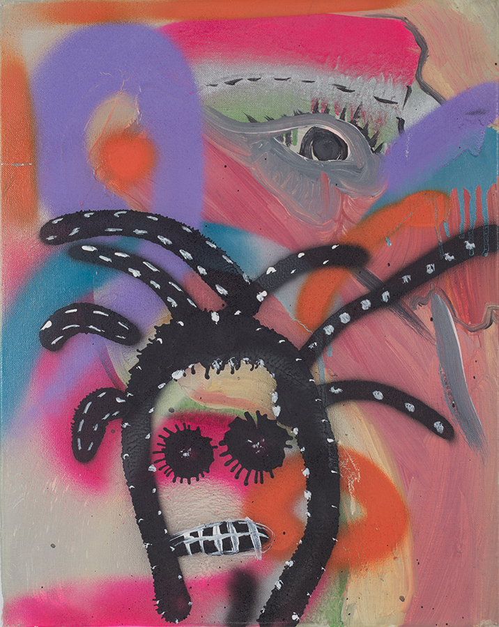 Acrylic, spray paint and pastel on canvas. Signed, dated and titled on the reverse.