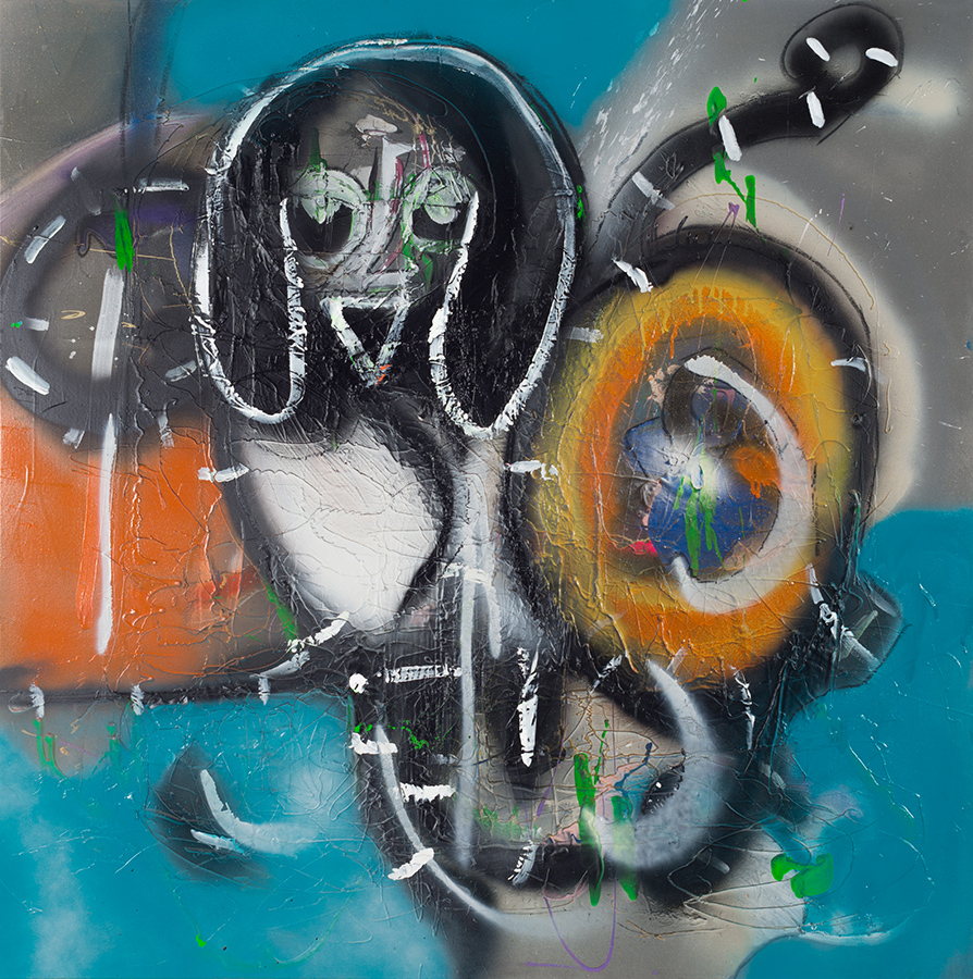 Acrylic, spray paint and vine charcoal on canvas. Signed, dated and titled on the reverse