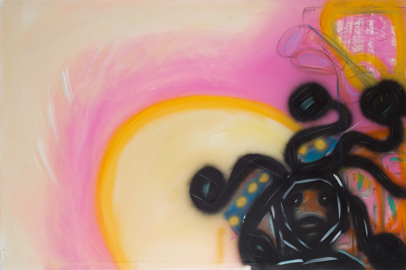 Acrylic, spray paint, and pastel on canvas. Signed, dated and titled on the reverse.