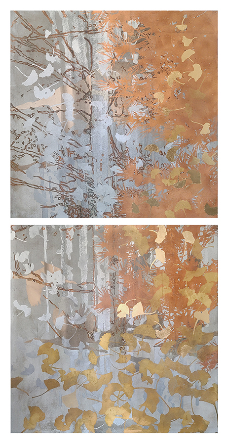 acrylic, gold, copper, palladium on Canvas