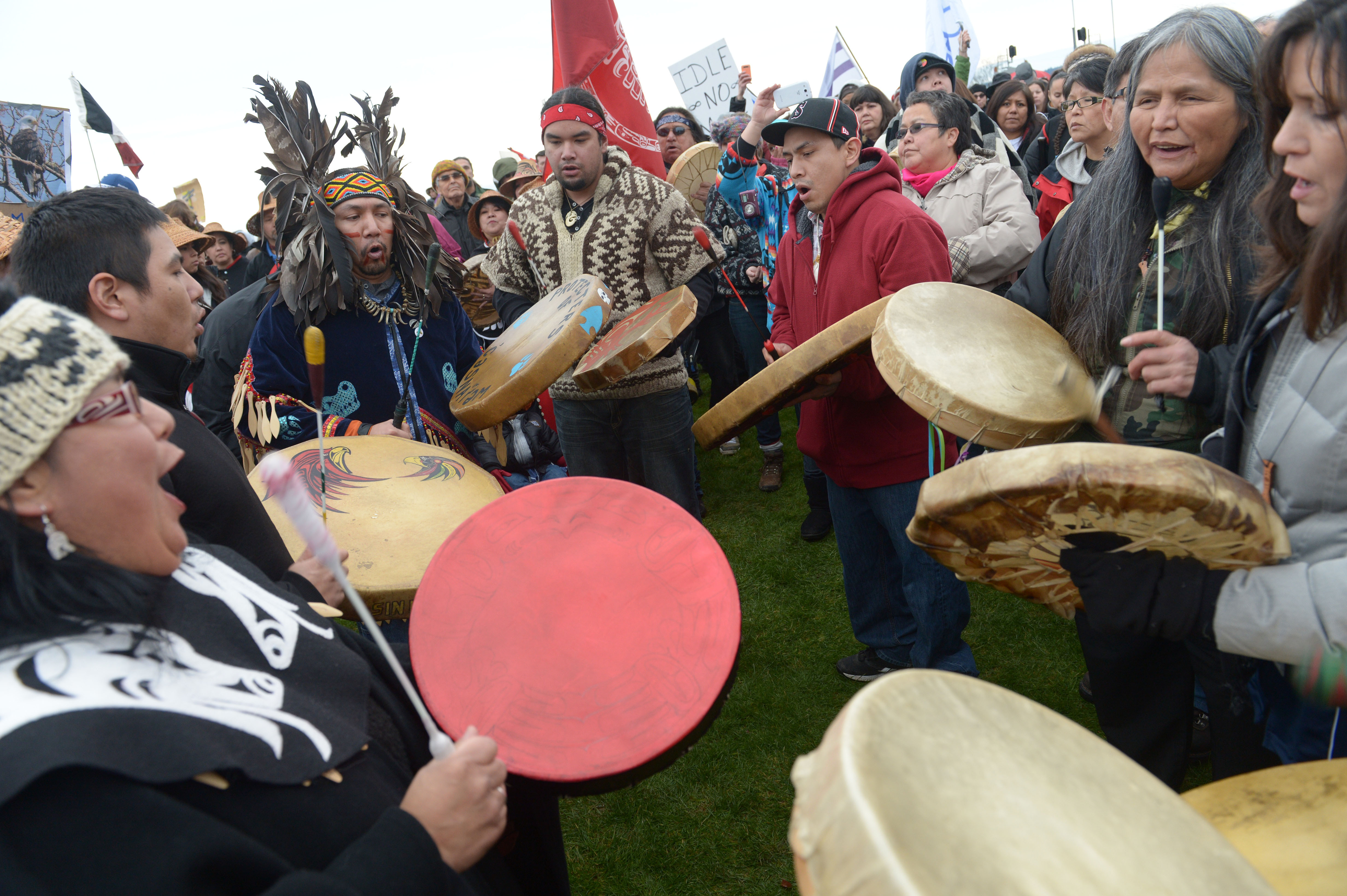 First Nations protest drummers