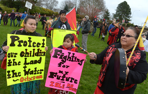 First Nations protest signs