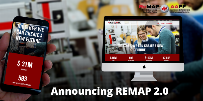 Visit our newly designed REMAP website that supports Canada's smart manufacturing ecosystem. The distinctive, bilingual platform showcases our second cohort of industrial R&D projects, and much more.