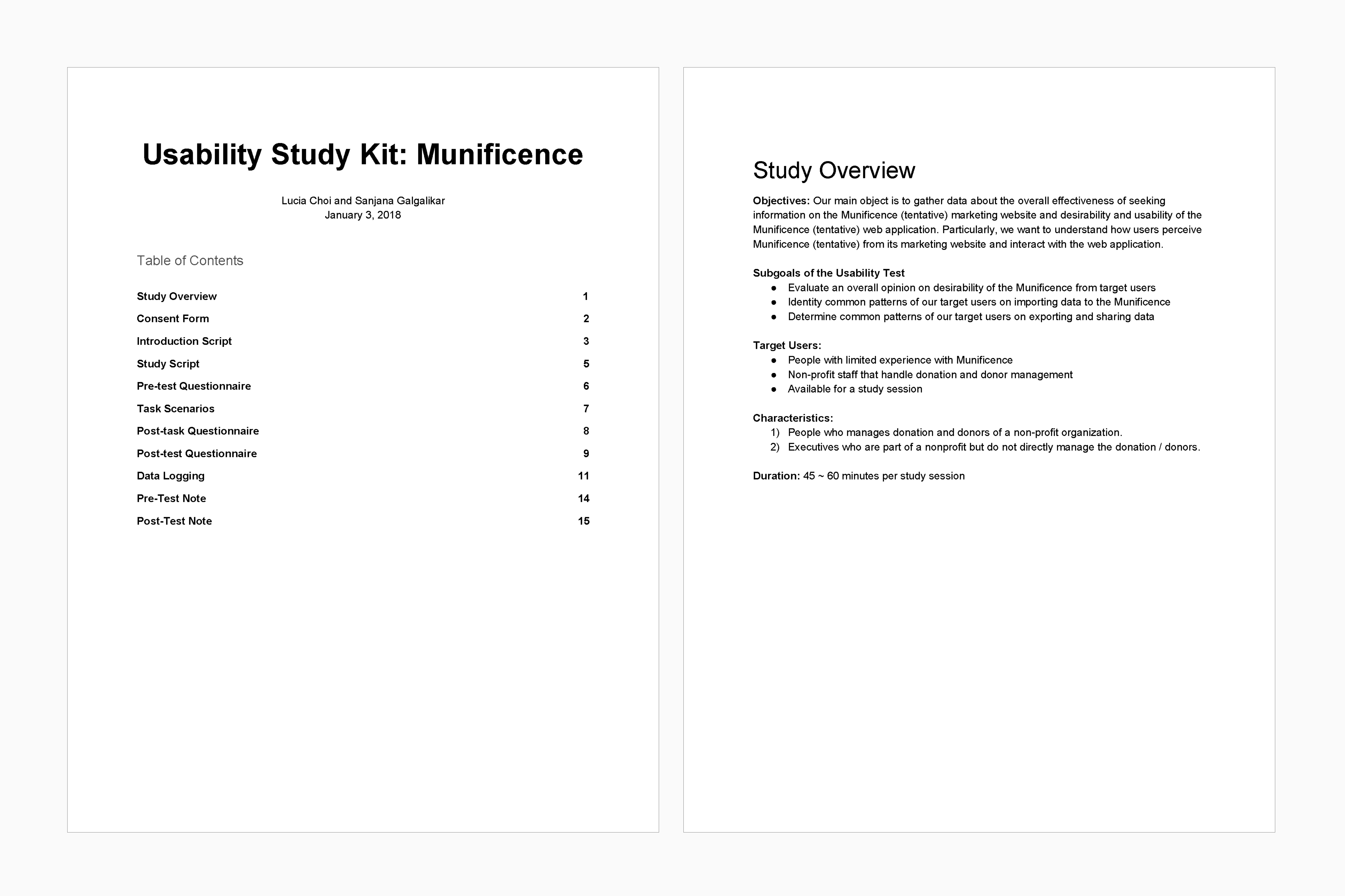 Munificence usability research protocol overview