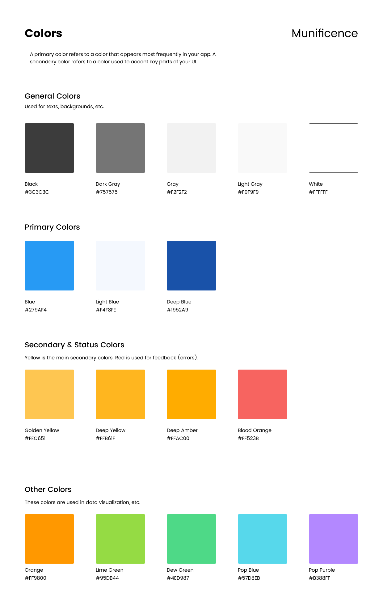 Munificence style guide: colors