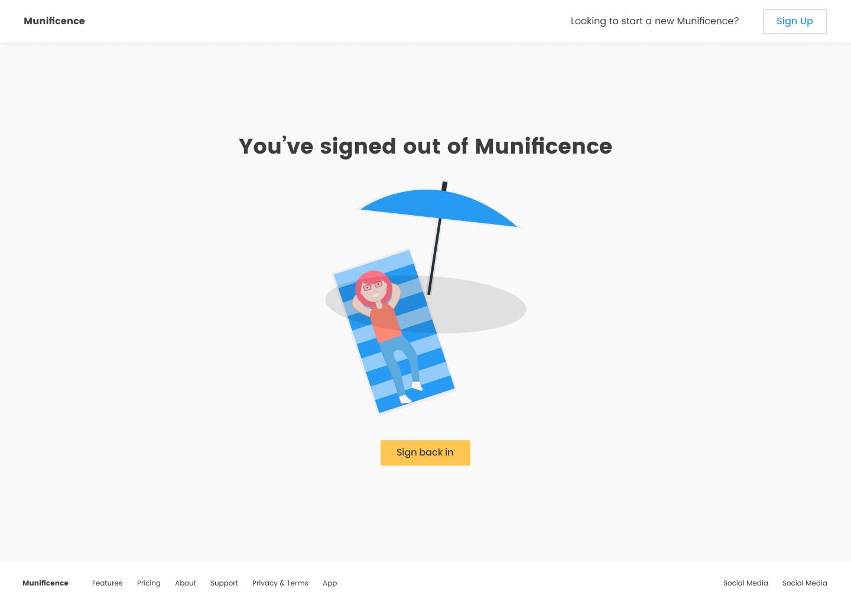 Munificence post-logout UI