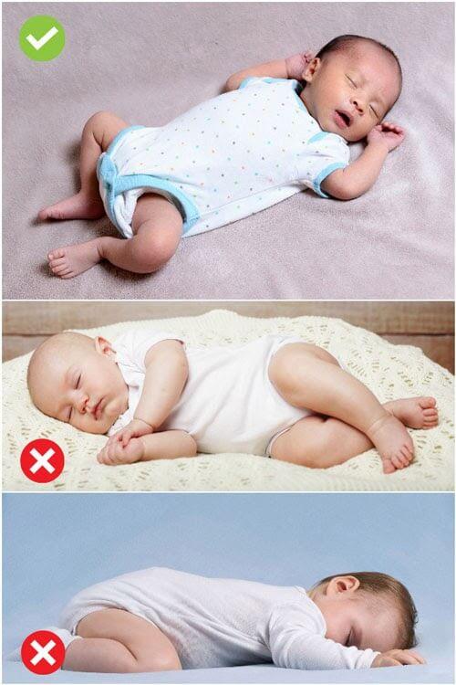 cho bé ngủ đúng tư thế