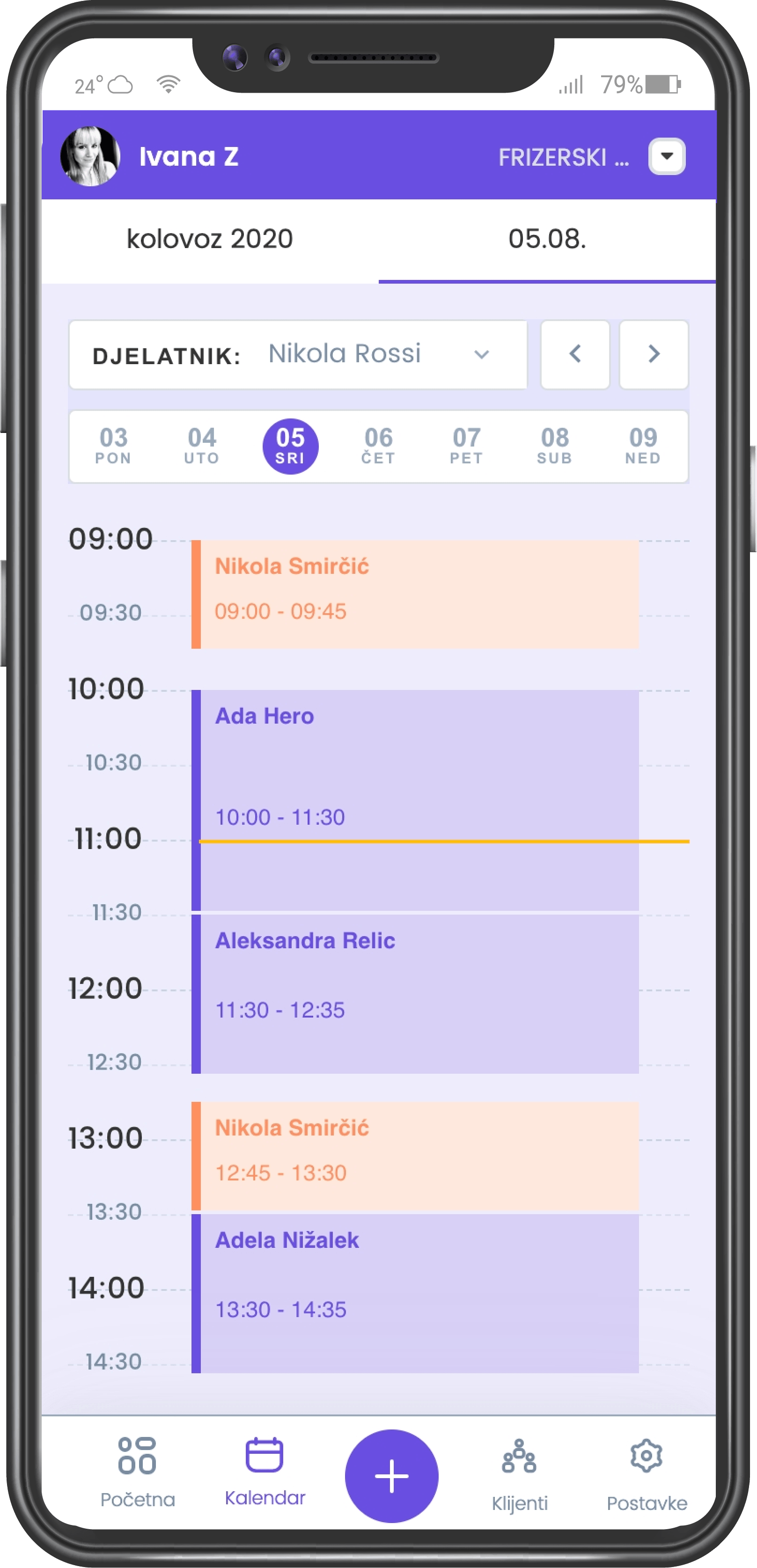 naruci.me screenshot of planner mobile application