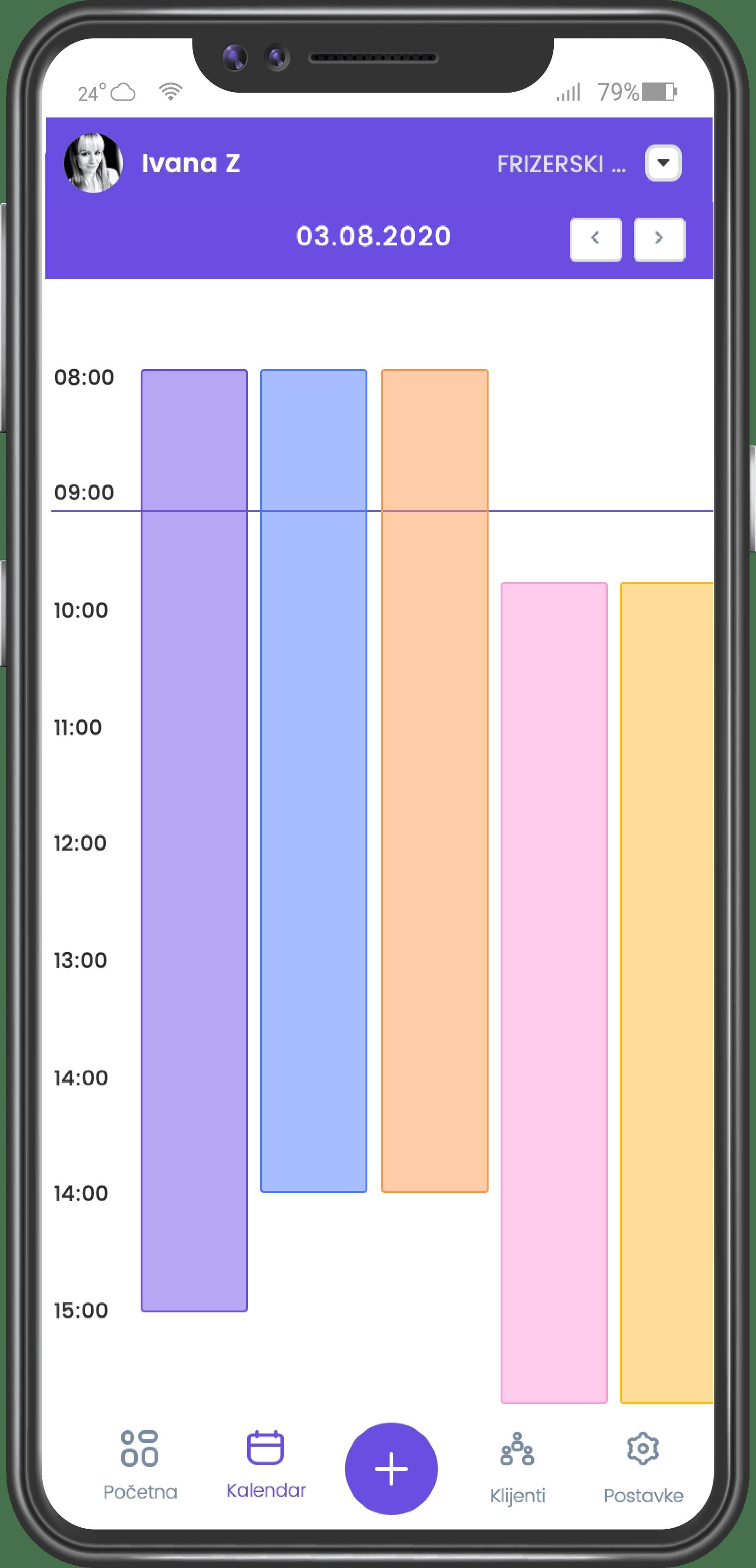 screenshot of employee week work schedule on mobile application