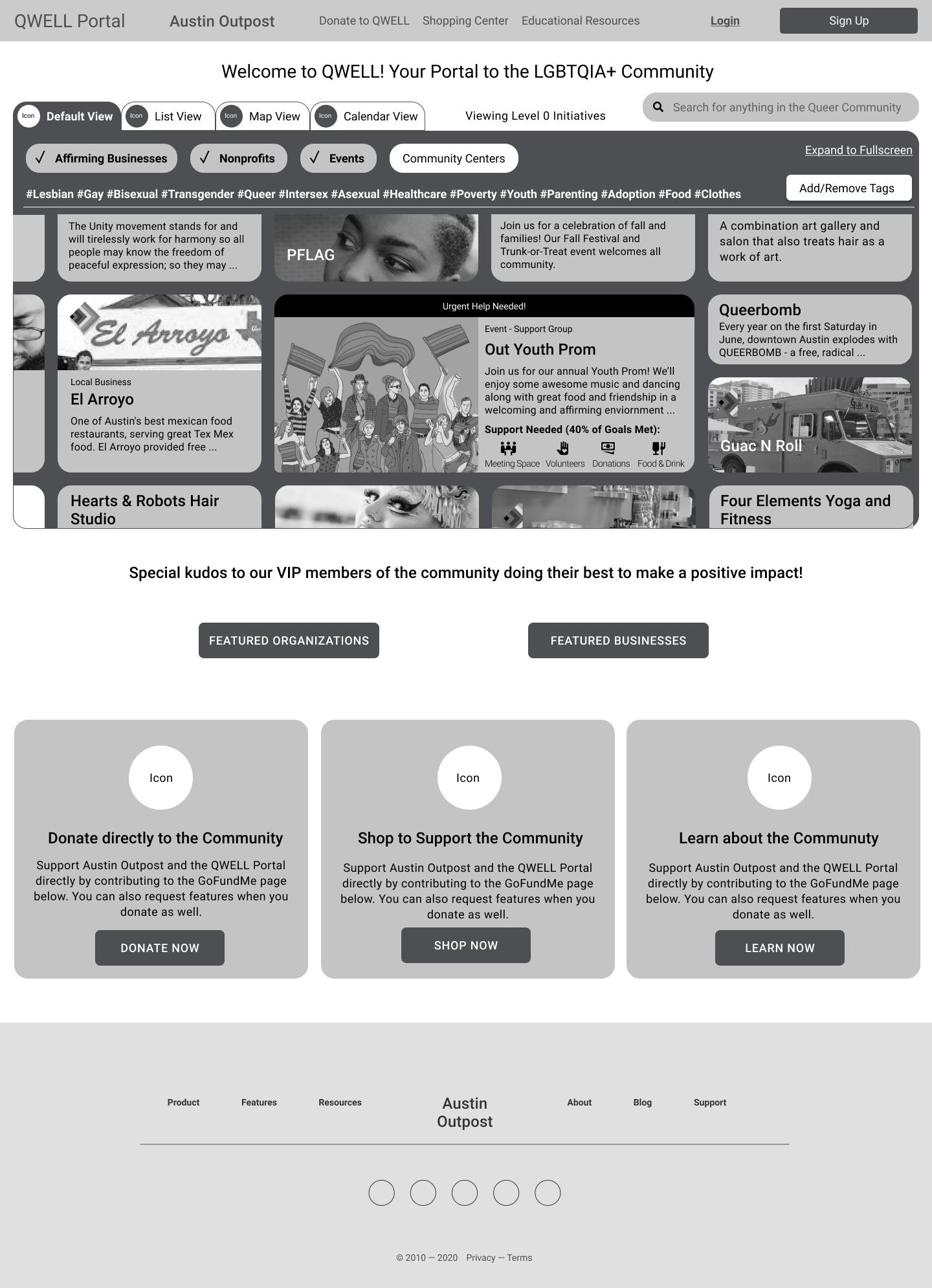 QWELL Portal Homepage, V1
