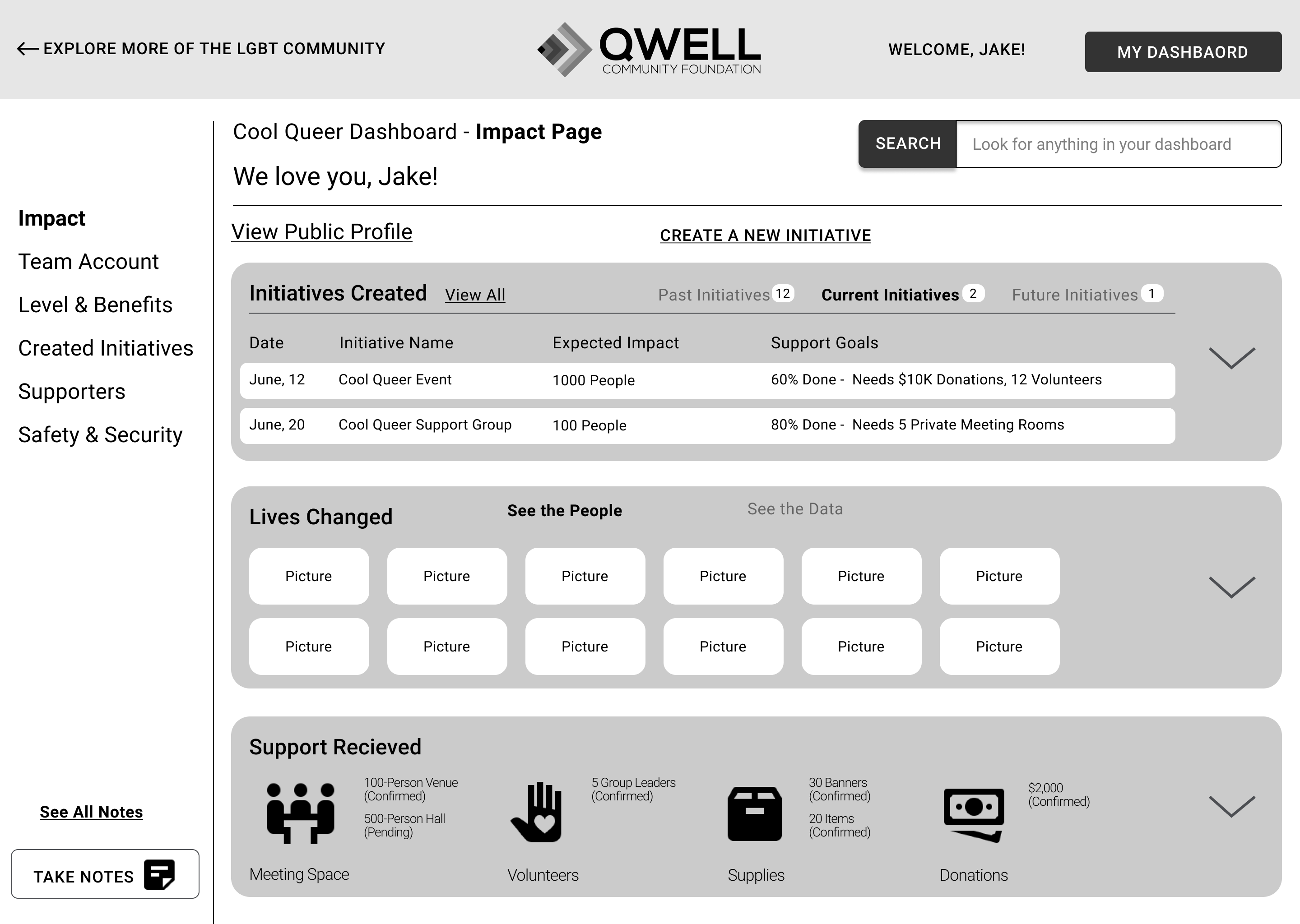 QWELL Level Up Page