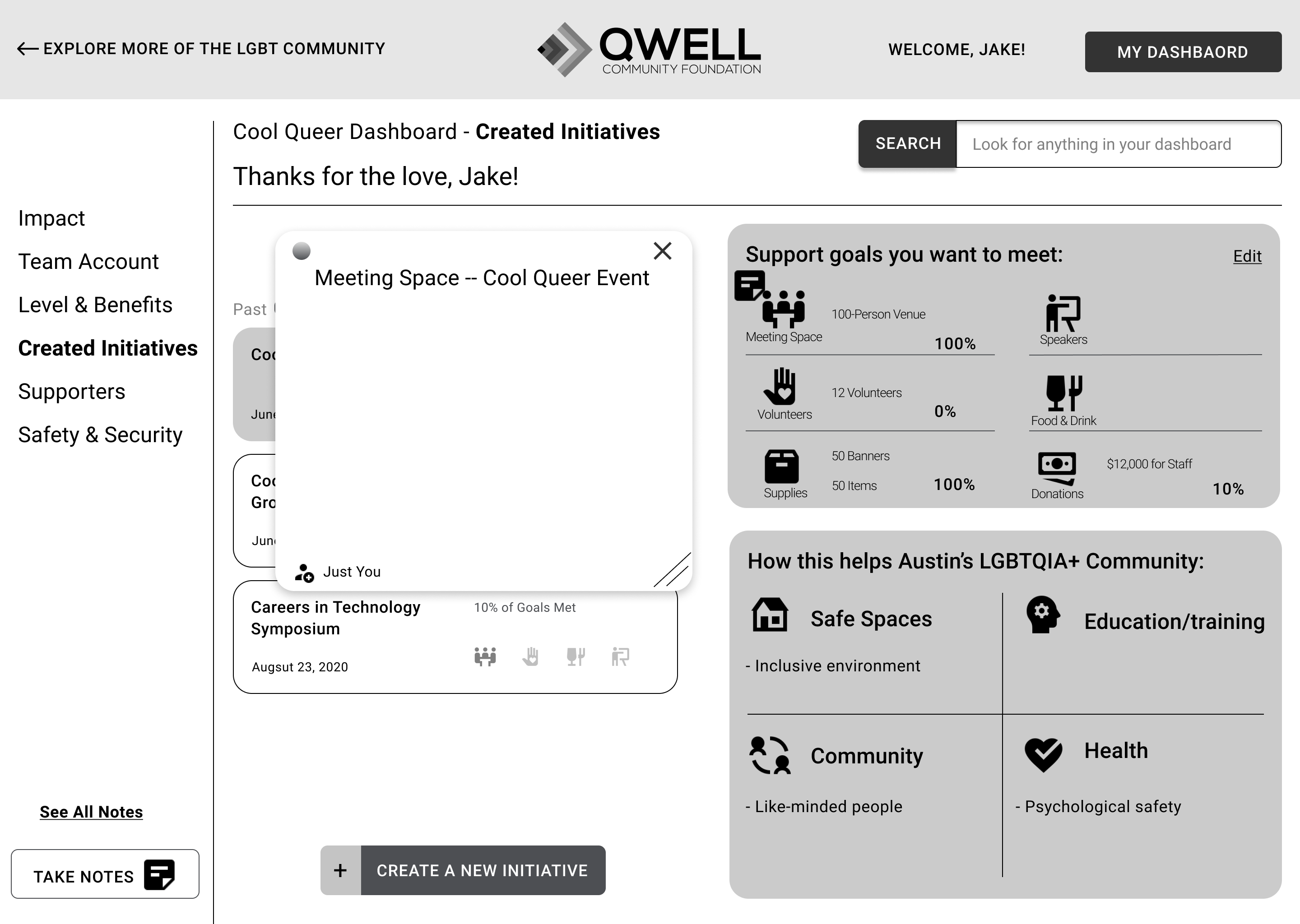 QWELL Portal Nota Taking Feature