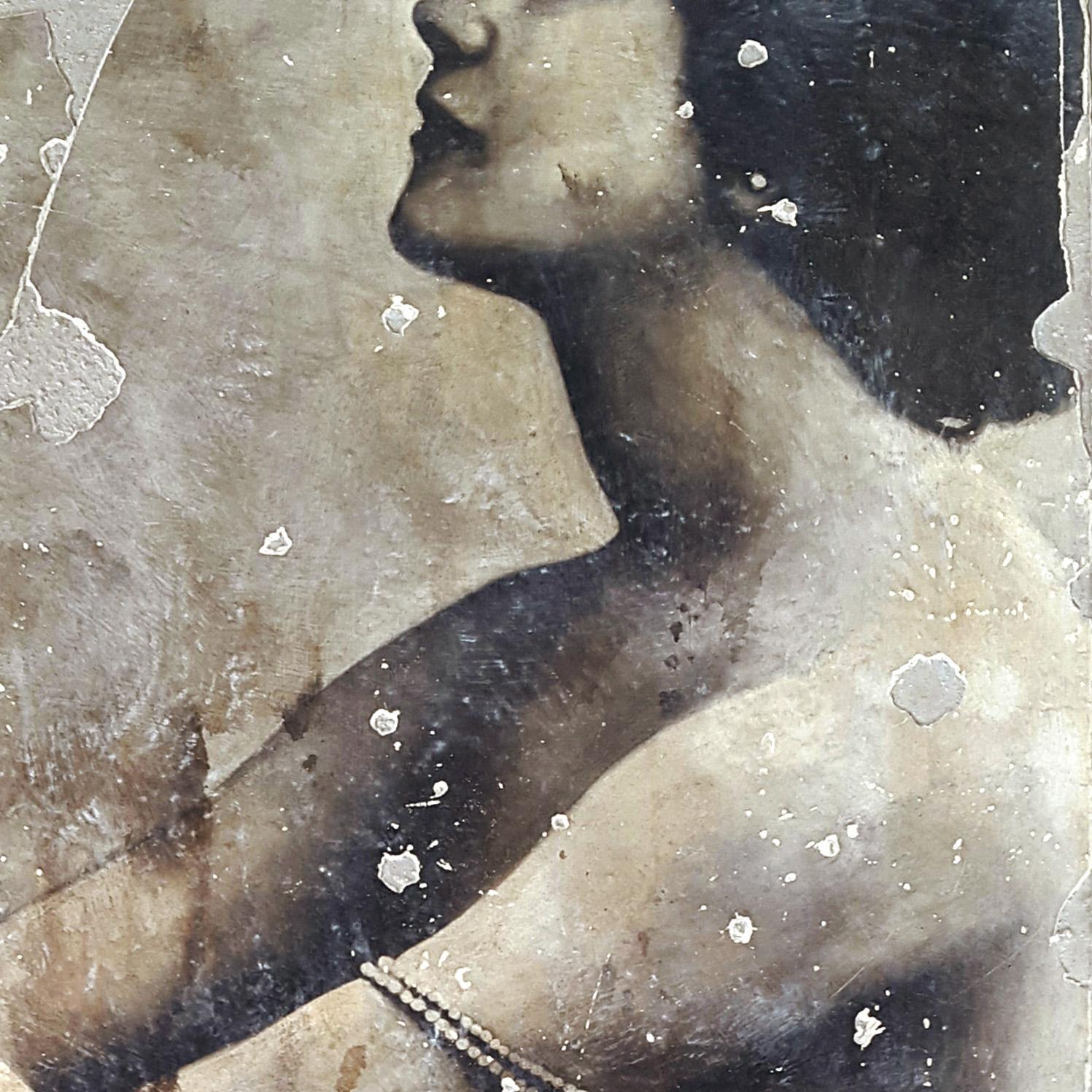 Descialbo (carboncino, bitume, tempera, intonaco) su cartone, 100x100 cm